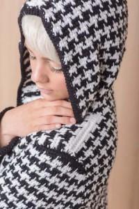 Shoulder on Tunisian Crochet Houndstooth Coat