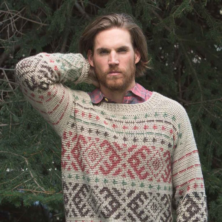 The Huntsman Pullover from Interweave Crochet Winter 2018. | Credit: Harper Point Photography