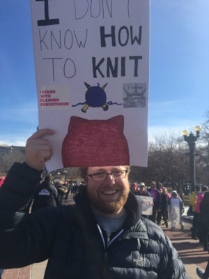 Even non-knitters got into the spirit like this gentelman in Denver, Colorado. (Photo by Connie Poole).