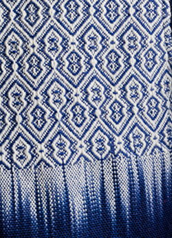 Catherine Griffith's handwoven jacket uses a painted ikat warp