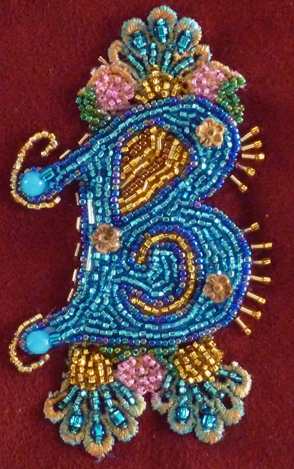 beaded text bead embroidery by Nancy Eha