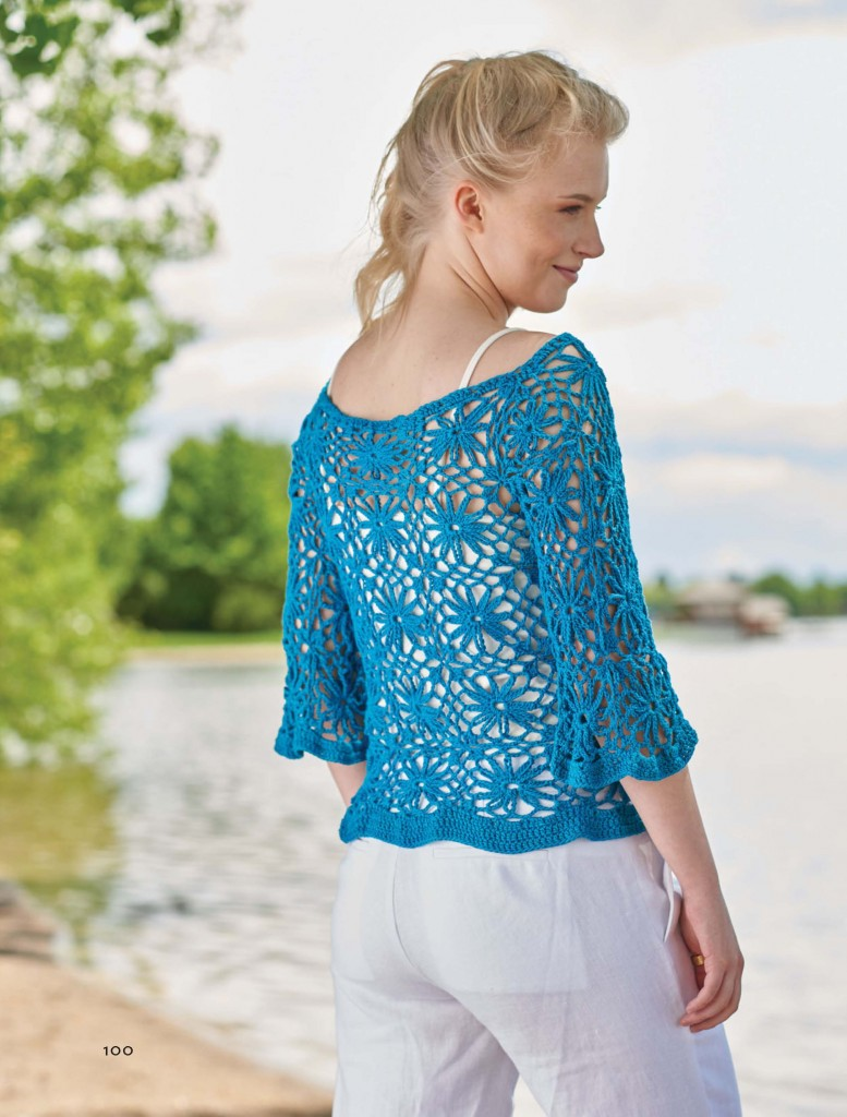 Isle of Capri Motif Crochet Pullover, Continuous Crochet by Kristin Omdahl