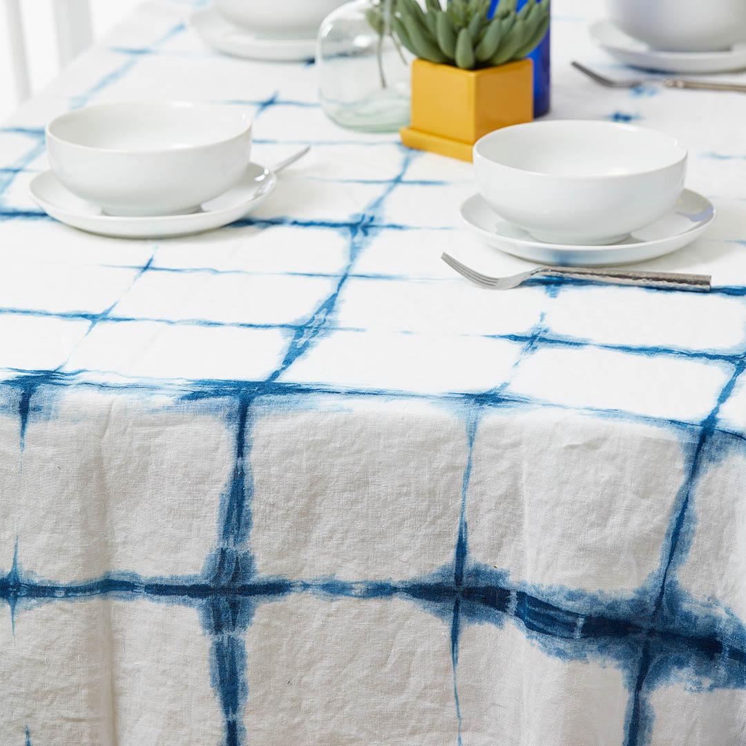 Laura's itajime shibori tablecloth| Photo Credit: George Boe