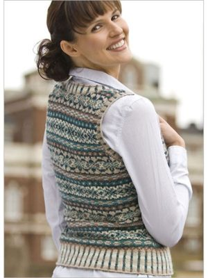 The Ivy League Vest uses the fair isle knitting technique which you can learn in our free Color Knitting Patterns eBook.