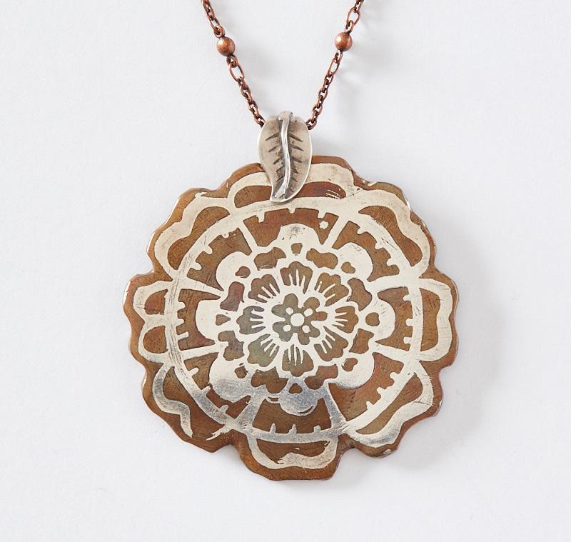 metal clay mokumé gané flower pendant
