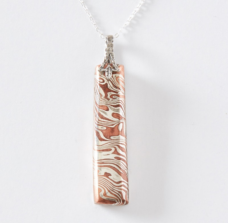 metal clay mokumé gané bar pendant