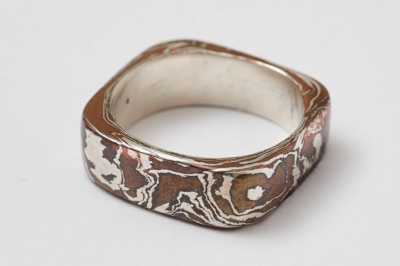 metal clay mokumé gané ring