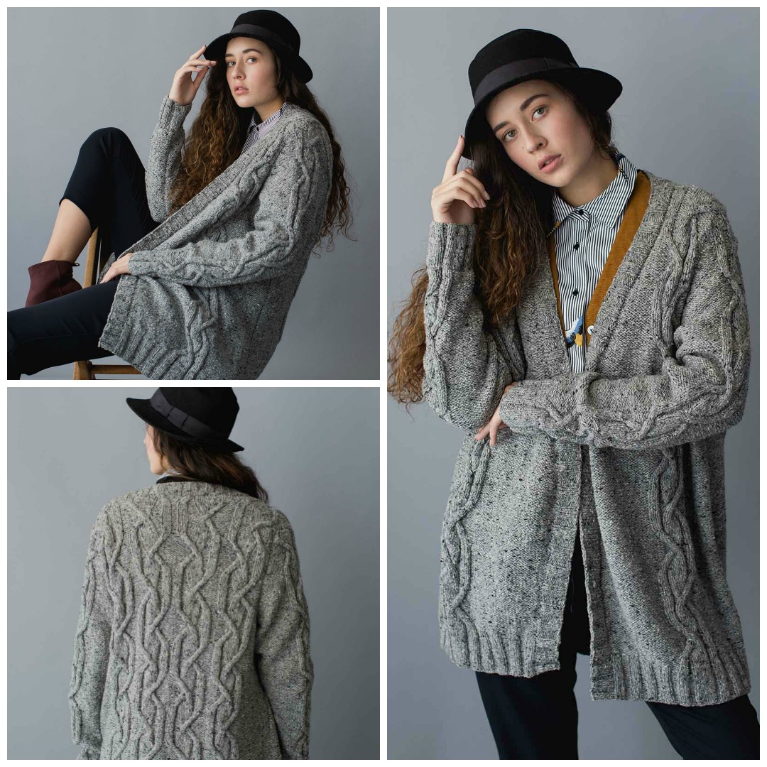 A gorgeous, oversized cardigan knitting pattern with tailored construction and intricate cables, the James Cardigan is a in instant winter knitting classic.