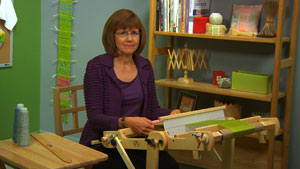 Jane Patrick at the rigid heddle loom