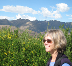 Handweaver Jennifer Moore surveys the Andes