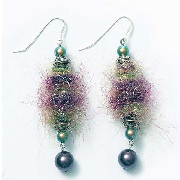 Fiber beads Fuzzbug earrings by Kristal Wick