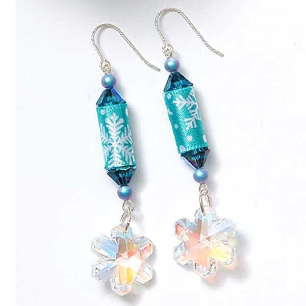 Fiber ribbon snowflake earrings by Kristal Wick