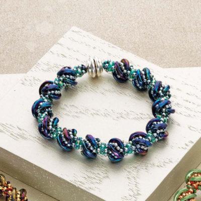 Whirligig Bracelet beadweaving design by Kassie Shaw