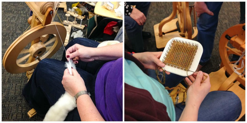 Left: Amy is an incredibly talented weaver. She enjoys expanding her understanding of textiles through spinning and knitting. Right: Maureen sampled her handspun Coopworth using a Zoom Loom and gathered a crowd interested to see her technique.
