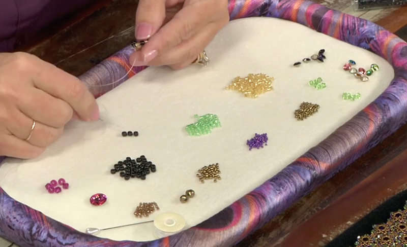Kelly Wiese's bead mat, counting out beads for each row