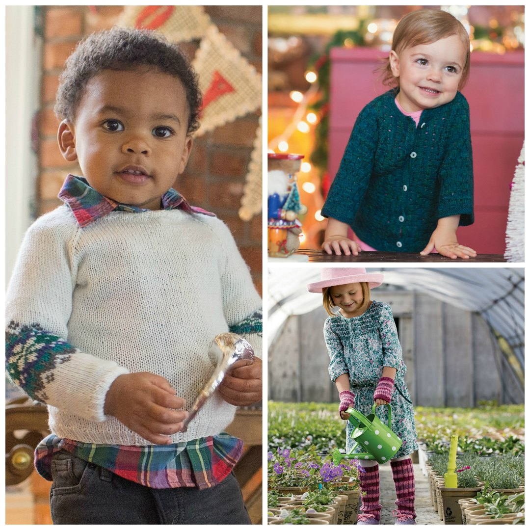 """You can make the <a href=""""https://www.interweave.com/store/little-snowflake-sweater-knitting-pattern"""" target=""""_blank"""" rel=""""noopener"""">Little Snowflake Sweater</a>, the <a href=""""https://www.interweave.com/store/sweet-little-cardigan-pattern"""" target=""""_blank"""" rel=""""noopener"""">Sweet Little Cardigan</a>, and the <a href=""""https://www.interweave.com/store/warm-stripes-set-knitting-pattern"""" target=""""_blank"""" rel=""""noopener"""">Warm Stripes Set</a>in no time! 