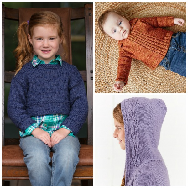 Knitting for kids: When you knit for kids, you don't have to worry about fitting a particular body type or using a fancy fiber. As long as the fit and yarn are comfortable, kids will be happy! Try the Ruhnu Cropped Pullover, the Red Feather Sweater, or the Windy Woods Girls Hoodiein superwash yarn. | Photos by George Boe and Harper Point Photography