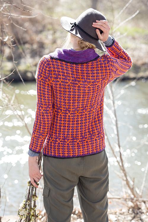 Back view of Kinni Cardigan crochet sweater