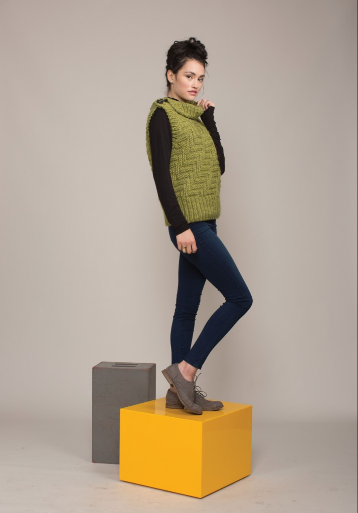 Learn how to knit vests the right way with this knitting pattern that includes big, cozy stitches in a roving yarn and knit-purl twill pattern.