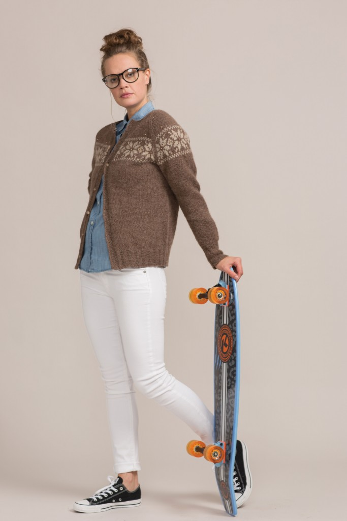 If you like knitting with beads, then you'll LOVE this beaded ski cardigan knitting pattern that uses Nordic colorwork with alpaca yarn and crystal buttons.