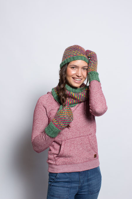 Prepare for the colder months with the amazing Manitou Spring Set by Jesie Ostermiller that includes a knitted hat, scarf, and mittens!