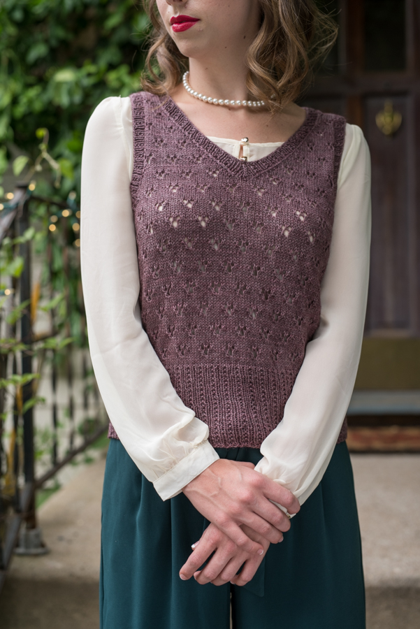 Must-try, Wanda knitted vest pattern that is easy to create with an eyelet lace pattern worked in the body.