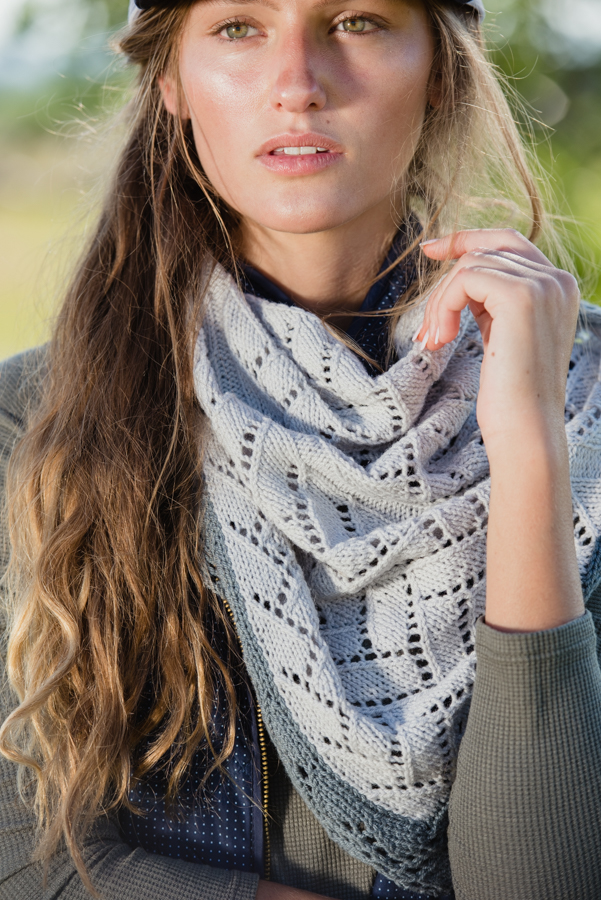 The Mismi (triangular) Shawl is knit in generously sized lace with a nice contrasting edging.