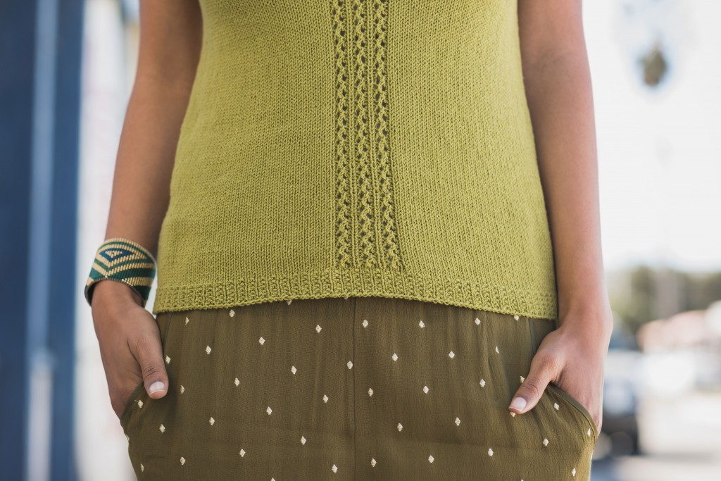 Summer Knitting Patterns: The Ventura Top has a lace detail on the front and a full lace pattern on the back. Gorgeous.