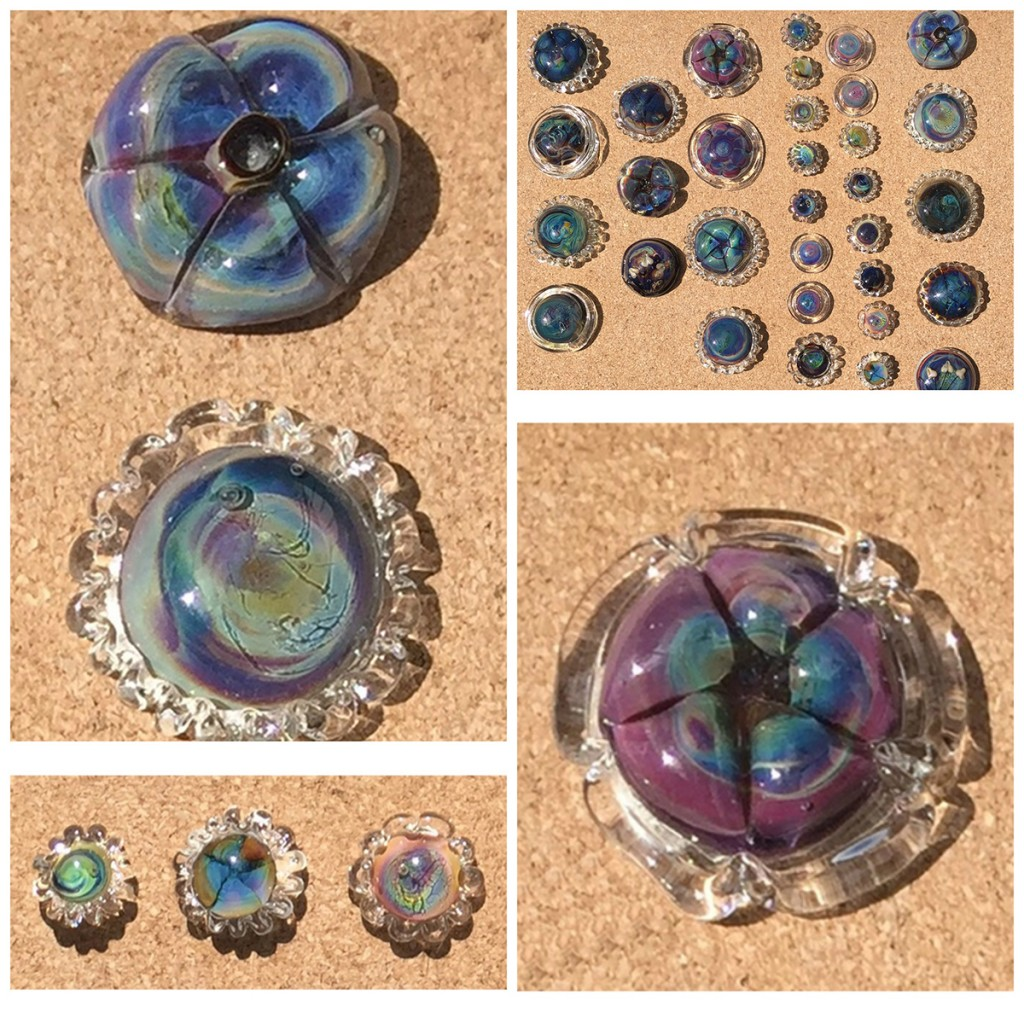 Glass cabochons by Kris Schaible, lampwork artist, Bead Fest vendor