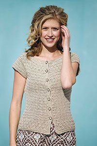 This short-sleeve crochet top is crocheted from the top down.