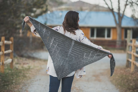 The Krokos Shawl by Anne Hanson, knit with the designer's own Better Breakfast DK from Bare Naked Wools