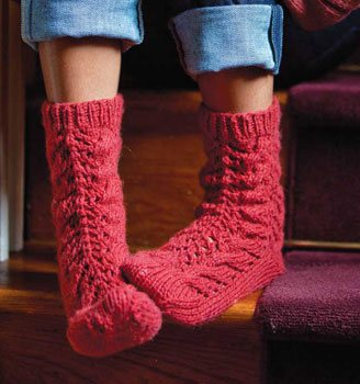 Bed Socks Knitting Pattern 2 Needles : Kumara Bed Socks - Interweave