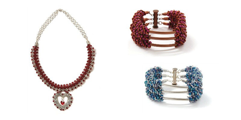 Hearts Afire Necklace and Holey Tubes! Cuff in Fuchsia and Blue