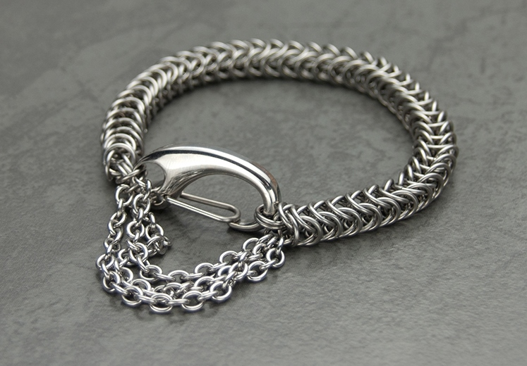 Stainless steel chain maille biker bracelet inspired by Harley Davidson motorbikes and accessories; photo: Kylie Jones.