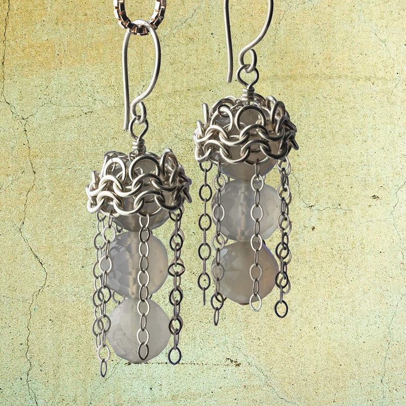 Roaring Twenties Style Dancing Chains Chain Maille Earrings with Moonstones