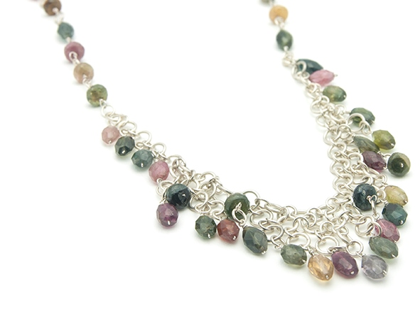 Tourmaline sterling silver chain maille necklace; photo: Kylie Jones.