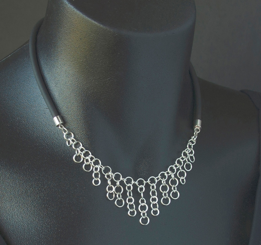 This modern sterling silver and PVC necklace has a light, wispy feel; photo: Kylie Jones