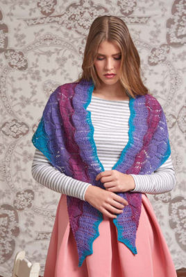 Colorplay Crescent Lace Shawl knitting pattern by Jen Lucas from Love of Knitting Spring 2016