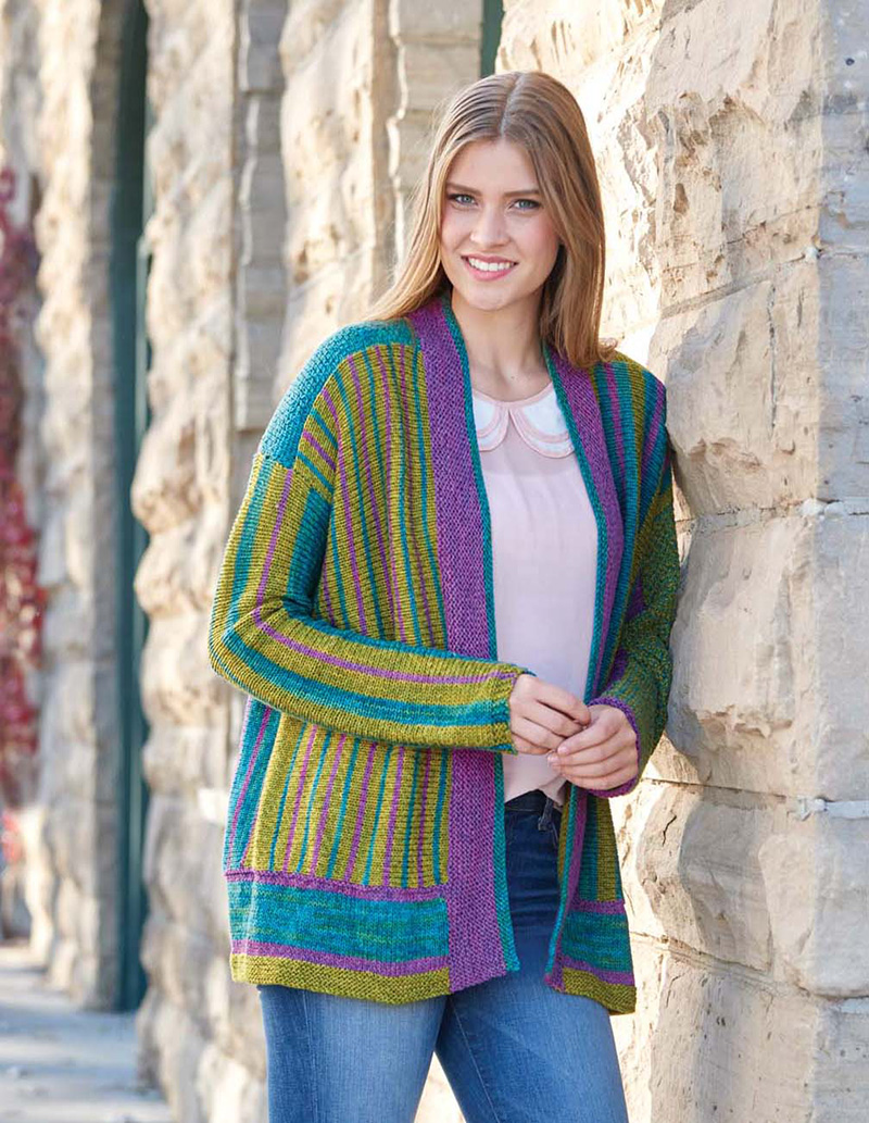 Bold Stripes Jacket knitting pattern by Brigitte Reydams from Love of Knitting Spring 2016