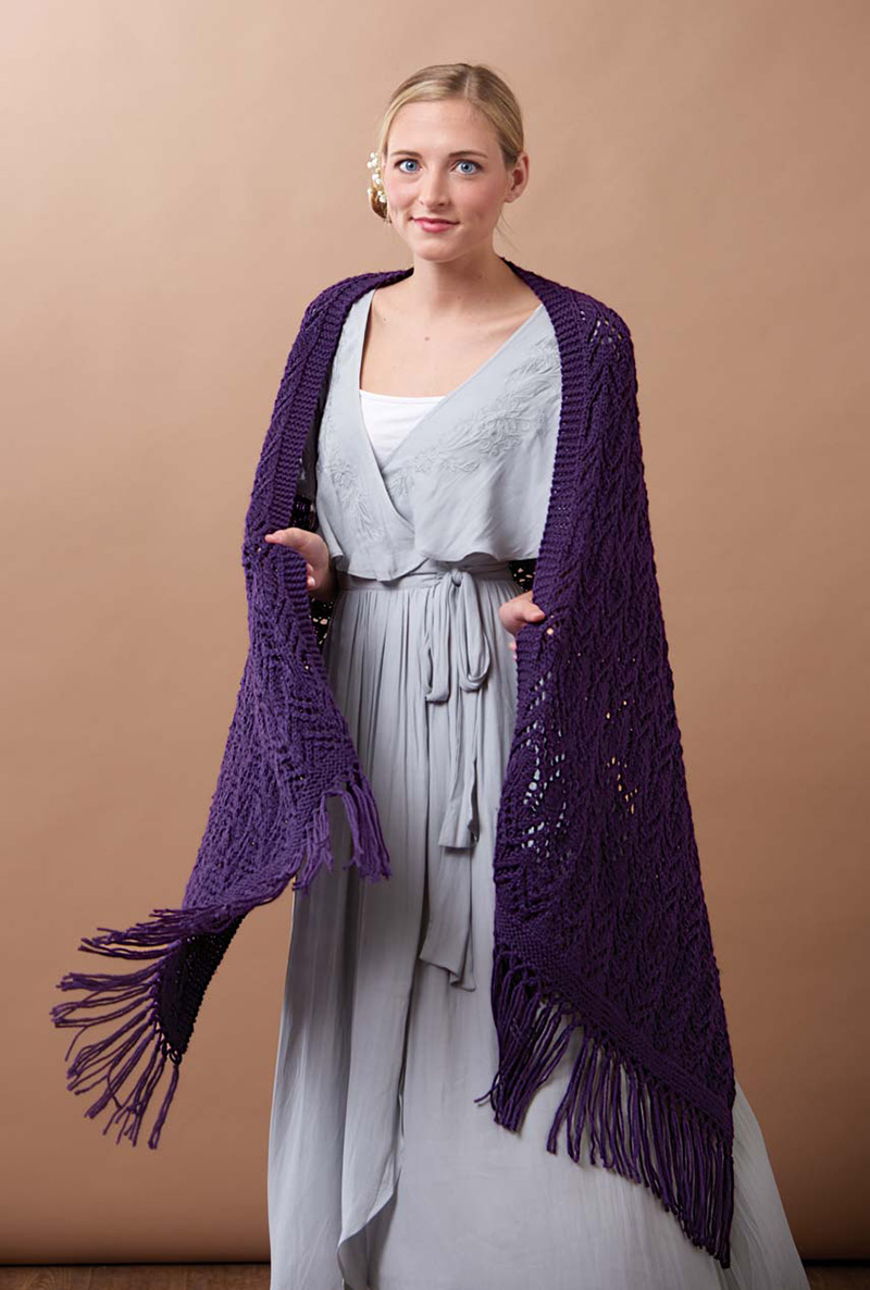 Crystal Chandelier Wrap knitting pattern by Ellen Liguori from Love of Knitting Spring 2016