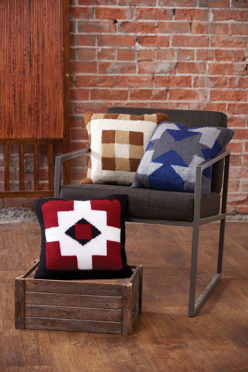 Three Geometric Pillows knitting pattern by Carolyn Pfeifer from Love of Knitting Spring 2016