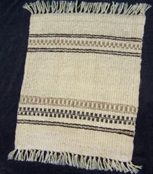 Sara's first handspun weaving