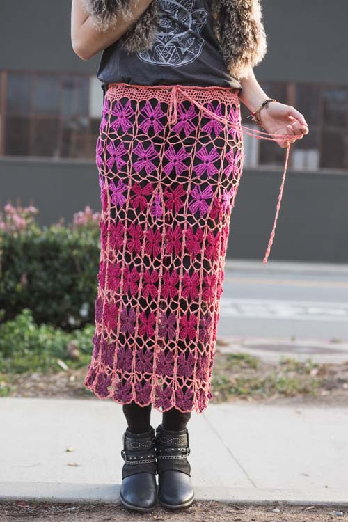 Lantana Skirt: this crochet skirt has beautiful crochet lace.
