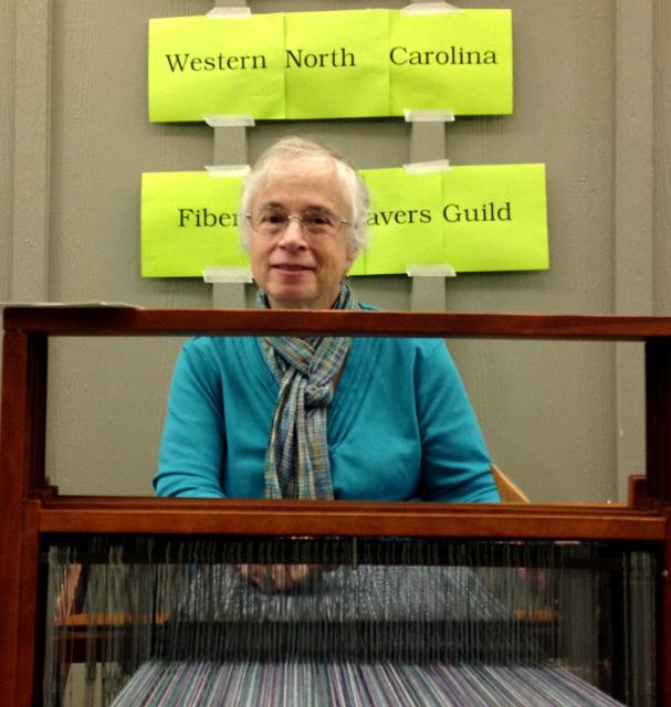 Pat Brown  weaving at SAFF 2015. Photos: Kate Larson.