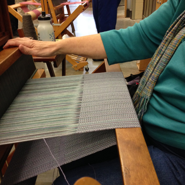 Pat was working on a beautiful variegated blue warp. Photos: Kate Larson.