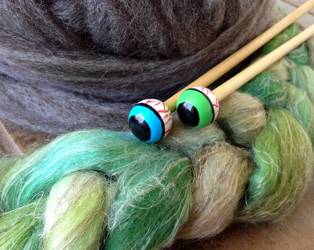Eyeball knitting needles from Threeravens and superwash wool, silk, and flax top from Wild Hare that happily match! Photo: Kate Larson.