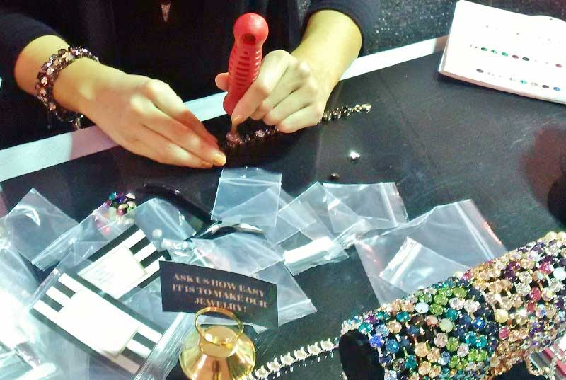 Tucson 2017 Wrap Up: New Jewelry-Making Supplies and Hot Jewelry Trends. Setting crystals in Las Vegas Rhinestone jewelry settings