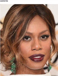 Laverne Cox wearing emerald and diamond earrings, by Lorraine Schwartz. Photo credit, Pret-a-Reporter