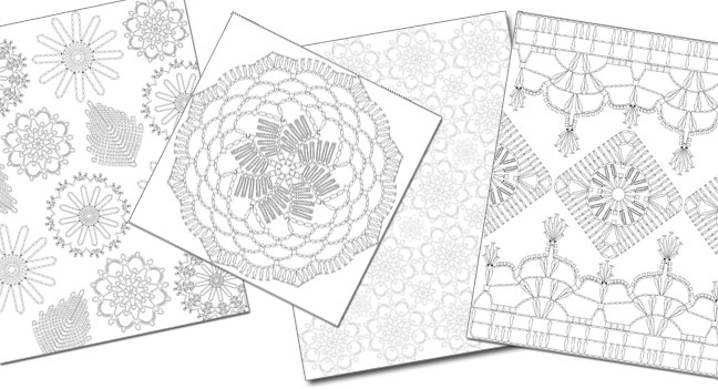 Pages in the Interweave Crochet Coloring Book