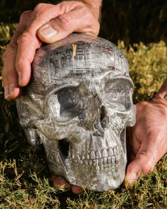 Lee Downey's Gibeon Skull. Life-sized human skull carved from Gibeon meteorite. Photo courtesy of Lee Downey.